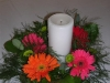 Bright Color Gerberas with Candle Wreath Centerpiece